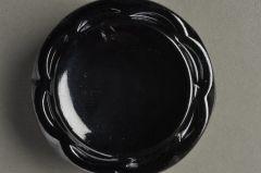 Glasknopf blutstein geschüsselt, floral Drahtöse KGOB 03sb01-58