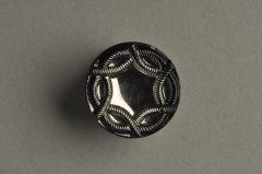 Glasknopf schwarz geschüsselt, sternförmiges Kordelmuster KGOG 63ss05-25