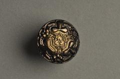 Glasknopf schwarz-gold Kleeblätter und Ornamente KGOG 64sg02-28