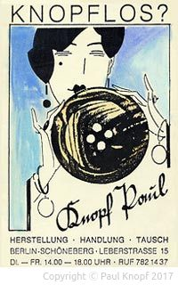 Knopfplakat für Paul Knopfs ersten Laden